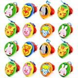 Foraineam 16 Pieces Finger Castanets Wooden Mini Castanet Musical Instrument Educational Tools Lovely Cute Animal Pattern Cas