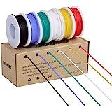 ライン24、ワイヤーキット24 AWGフレキシブルシリコンワイヤー(色あたり9 mスプールの6色)300 Vケーブル耐熱性