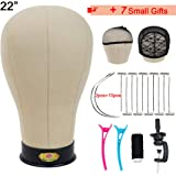 Cork Canvas Block Mannequin Head For Wigs Professional Canvas Wig Block Head With Stand and Pins 22 Inch