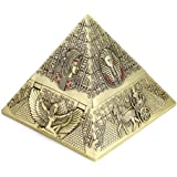 Hipiwe Windproof Metal Pyramid Ashtray - Vintage Egyptian Style Cigarette Ashtray Holder with Lid, Desktop Tobacco Ash Tray f