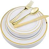 WDF-125 Piece Gold Plastic Silverware Set&Disposable Plastic Plates- Premium Heavyweight Plastic Place Setting Include 25 Din