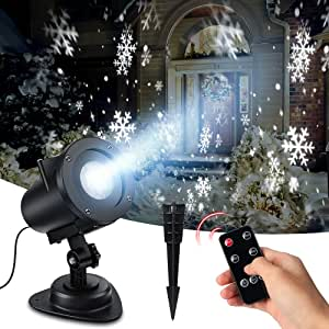 令和元年版 クリスマス プロジェクターライト 雪の結晶 雪嵐 LEDクリスマスライト イルミネーションライト 投影ランプ インテリアライト クリスマスの飾り物 自動タイマー 部屋・店舗の雰囲気づくり 10W高輝度