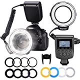 Neewer 48 Macro LED Ring Flash Bundle with LCD Display Power Control, Adapter Rings and Flash Diffusers for Canon 650D,600D,5