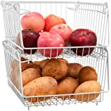 Homics Stacking Baskets Metal Wire Storage Organizer Bins with Handles, Produce Basket for Kitchen, Pantry Storage for Fruit,