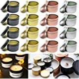 16 Pcs Candle Tins for DIY Candle, Candle Container Tins for Candle Making Gold Rose Gold Silver Black Tins