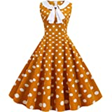 Wellwits Women's Polka Dots White Sailor Tie Neck 1950s Vintage Dress