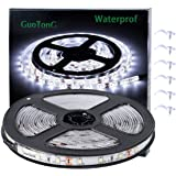 GuoTonG Flexible Waterproof LED Light Strip 300 Units SMD 2835 LEDs 6000K Daylight White 12V LED Tape Led Ribbon 16.4ft/5m Li