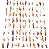 100 Pcs HO Scale Models People Set, Liangxiang 1:100 Scale DIY Resin Colorful Painted Mixed Seated and Standing People Figure