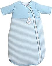LETTAS 赤ちゃん スリーパー 秋 冬 暖かい 柔らかい 綿100% (コットン) 取り外し可能な ジップスリーブ (S,6-18月) ブルー
