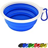 Zenify Dog Bowl - 400ml Collapsible Foldable Food and Water Feeder Dish - Portable Travel Leash Lead Slim Accessories for Tra