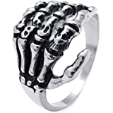 Aokarry Men's Stainless Steel Ring, Vintage Antique Skull Hand Bone, Black Silver 17MM