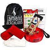 【Lamand】 スラックライン 【楽しく体幹トレーニング】すぐ遊べる初心者用セット 安心の検査済 設置簡単 15m キャンプ アウトドア 屋内 屋外