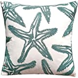 FINOHOME Embroidery Lake Blue Starfish Throw Pillow CoverOcean Series Nautical Decorative Pillow Case Imitation Linen Square