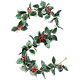 iFLOVE Christmas Garland Winter Red Berries Holiday Decoration Holly Leaves Garland, 5.5 FT Premium Christmas Greenery Garlan