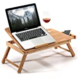 HANKEY Bamboo Bed Table Serving Tray for Eating Breakfast, Reading Book, Watching Movie on iPad | Large Foldable Laptop Noteb