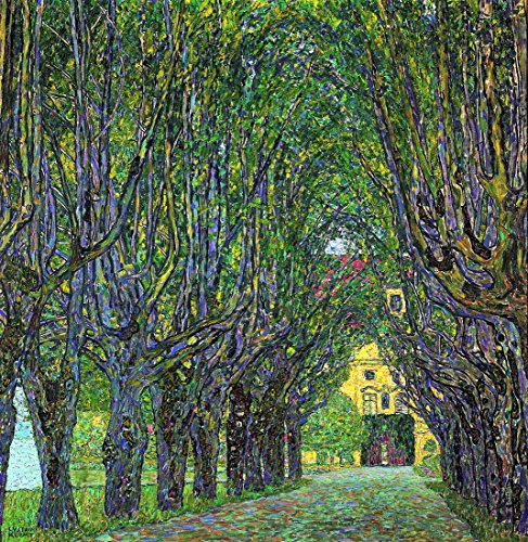Avenue in Schlob Kammer公園by Gustav Klimt。100?%ハンドペイント。Oil onキャンバス。Reproduction。(額無しUnstretched)。 36x37
