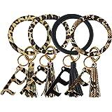 4PCS Leather Wristlet Keychain Bracelet Bangle Round Key Ring Large Circle Tassel Key Chain No Touch Key Door Opener