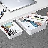 Under Desk Drawer[2Pack, M+S], GGIANTGO Mini Desk Drawer, Set for Office/Bedroom/School/Kitchen, Self-Adhesive Under Desk Sto