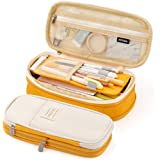 EASTHILL Medium Capacity Pencil Pen Case Office College School Large Storage High Bag Pouch Holder Box Organizer Yellow Orang