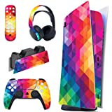 PlayVital Coloful Triangle Full Set Skin Decal for PS5 Console Digital Edition, PS5 Sticker Vinyl Decal Cover for Playstation