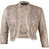 R&M Richards Women's 1 Piece Laced Shrug with Sequins Missy in