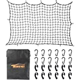 "Towever 4'x6'Bungee Cargo net Pickup Truck Bed Long Stretches to 8'x12' 3""x3"" mesh net Small Large Cargo Load Tight"