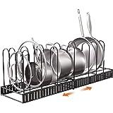 伸縮式 鍋ラック キッチン収納ラック フライパンラック 七つ仕切り付き フライパン 食器 鍋蓋 お皿 まな板 鍋置き 引き出し用 シンク下用(ブロンズ)