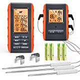 Wireless Meat Thermometer for Grilling Smoking - Kitchen Food Cooking Candy Thermometer with 3 Probes - Monitor Ambient Tempe