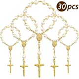 30 Pieces Baptism Rosary Acrylic Rosary Beads Ivory Color Mini Finger Baptism Rosaries Gold Plated Faux Pearls for Baptism Fa