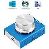 Mini USB ボリュームコントロールノブ オーディオアジャスターブルースイッチ PCコンピュータスピーカー用 (ブルー)