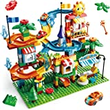 REMOKING Kids Toys Marble Run Building Big Blocks,213 PCS Car Race Track Toys,DIY Construction Building Blocks,Educational To