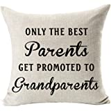Andreannie Best Gifts for Mom Dad Only The Best Parents Get Promoted to Grandparents Blessing Cotton Linen Throw Pillow Case