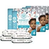 The Honest Company Super Duper Club Box with TrueAbsorb Baby Diapers & Honest Baby Wipes | Size 4 | Eco-Friendly Diapers | Hy