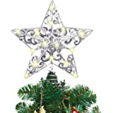 MAIAGO 10 Inches Christmas Tree Topper with 20 LED Lights, Glittering Silver Metal Hollow-Out Unique Design Christmas Tree De