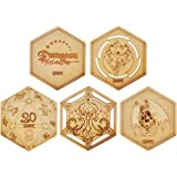 D&D Decorative Wood Coasters Cool & Unique Table Mug Cup Mats Laser Engraved with Dragon, D20 and Cthulhu (Set of 3)
