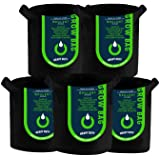 OPULENT SYSTEMS 5 Gallon Grow Bags Nonwoven Thickened Plant Fabric Aeration Pots with Handles 5-Pack