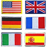 National Flag Patches, TOWEE 6 Pack US Flag/Great Britain Flag/Germany Flag/France Flag/Italy Flag/Spain Flag Tactical Patche