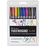 Tombow 56429 Fudenosuke Color Brush Pen, 10-Pack. Hard Tip Fudenosuke Brush Pens in Assorted Colors for Calligraphy and Art D