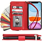 KIHUWEY iPhone 11 Wallet Case Premium Leather Zipper Money Pocket with Credit Card Holder and Wrist Strap,Kickstand and Prote