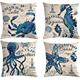 ULOVE LOVE YOURSELF Sea Throw Pillow Covers Only Ocean Theme Seahorse-Octopus-Starfish-Crab Pattern Beach House Decorative Cu