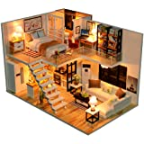 Dollhouse Miniature with Furniture, DIY Dollhouse Kit Plus Dust Proof and Music Movement, 1:24 Scale Creative Room for Valent