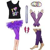 Dorigan Womens 80s Neon Rainbow T-Shirt Fancy Outfit Dress Costume Accessories
