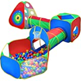 5pc Kids Ball Pit Tents and Tunnels, Toddler Jungle Gym Play Tent with Play Crawl Tunnel Toy , for Boys babies infants Childr