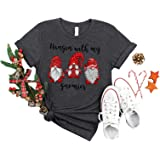 Women Merry Christmas Shirt Cute Santa Tree Reindeer Graphic Splicing 3/4 Long Sleeve Raglan Tees Baseball Tops
