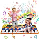 Tobeape 110*36CM Piano Mat  Boys Girls, 19 Musical Keyboard Floor Playmat Toddlers Step On Dance Mat with 10 Demo + 8 Instrum