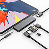 3XI iPad Pro 2020 2018 USB C ハブ 7in1 iPad Air 4 ハブ 4K HDMI 出力 60W PD充電 USB3.0 ハブ SD/TFカードリーダー 3.5mm ヘッドホンジャックタイプ C HDMI 変換 アダ