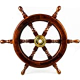 Premium Nautical Handcrafted Wooden Ship Wheel   Pirate's Wall Home Decor & Gifts   Nagina International (24 Inches, Dark Ros