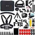 Artman Action Camera Accessories Kit 58-in-1 for GoPro Hero 9 8 Gopro MAX Gopro 7 6 5 Session 4 3+ 3 2 1 Black Silver SJ4000/