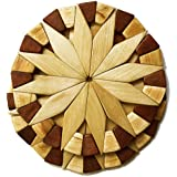 Natural Wood Trivets For Hot Dishes - 2 Eco-friendly, Sturdy and Durable 7'' Kitchen Hot Pads. Handmade Festive Design Table
