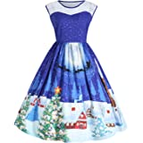 UNIFACO Women's Plus Size Christmas Dress Sleeveless A-line Christmas Print Cocktail Party Dresses with Lace L-5XL